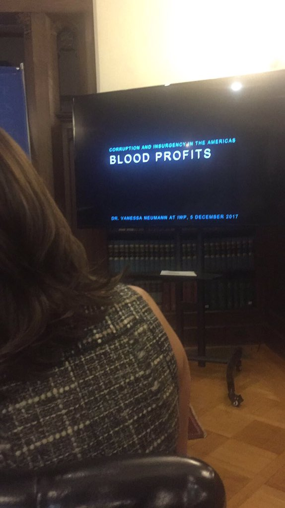 Honored To Give My First Book Talk On Blood Profits Today, At The Institute For World Politics. Title: Corruption And Insurgency In The Americas.